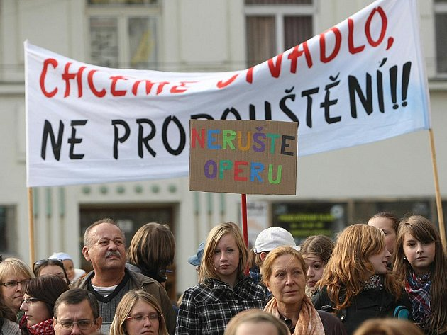 Protest zaměstnanců Národního divadla Brno.
