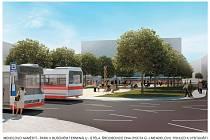 Mendlovo náměstí - park v autobusovém terminálu - Pohled k výstavišti.