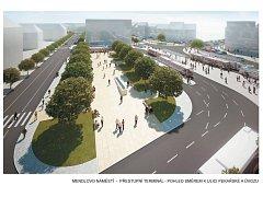 Mendlovo náměstí - přestupní terminál - Pohled směrem k ulici Pekařské a Úvozu.