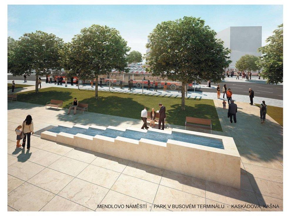Mendlovo náměstí - park v autobusovém terminálu - Kaskádová kašna.