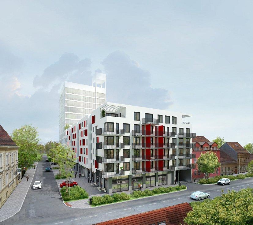 Vizualizace šestipatrového bytového domu Ponavia rezidence pro osmasedmdesát rodin.