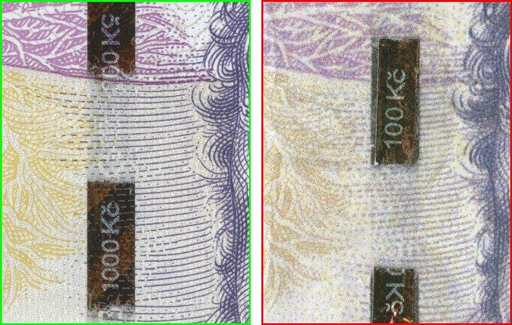 Detail ochranného proužku na pravé bankovce 1 000 Kč (mikrotext ČNB 1000 Kč) a na padělku 1 000 Kč (mikrotext ČNB 100 Kč). Rozdílná poloha ochranného proužku a rozdílný mikrotext je technologickou zákonitostí, nejedná se o znak padělku.