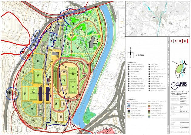 Územní studie projektu sportovního areálu za Anthroposem.