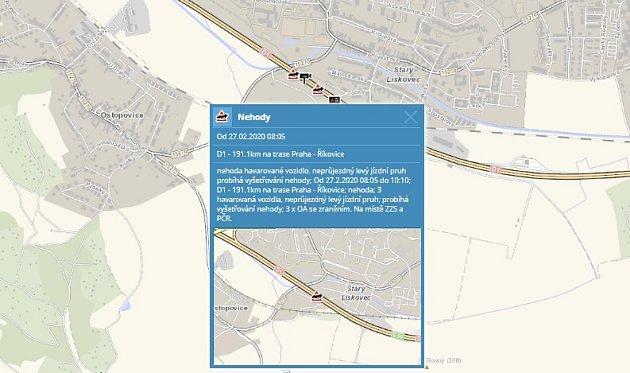 Nehoda tří aut na D1 zablokovala provoz na 190.kilometru ve směru na Brno.