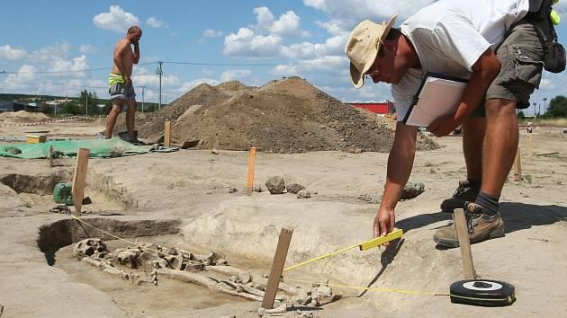 Stovky keramických úlomků a desítky hrobů se zatím podařilo odhalit archeologům na poli poblíž Modřic na Brněnsku.