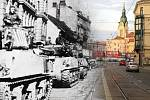 Unikátní snímky zachycující brněnské ulice dnes a před sedmdesáti lety v úterý zveřejnil Sokol Brno I na svém facebooku.