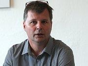 Tisková konference k rekonstrukci a rozšíření plaveckého bazénu za Lužánkam - generální ředitel STAREZ SPORT Martin Mikš.