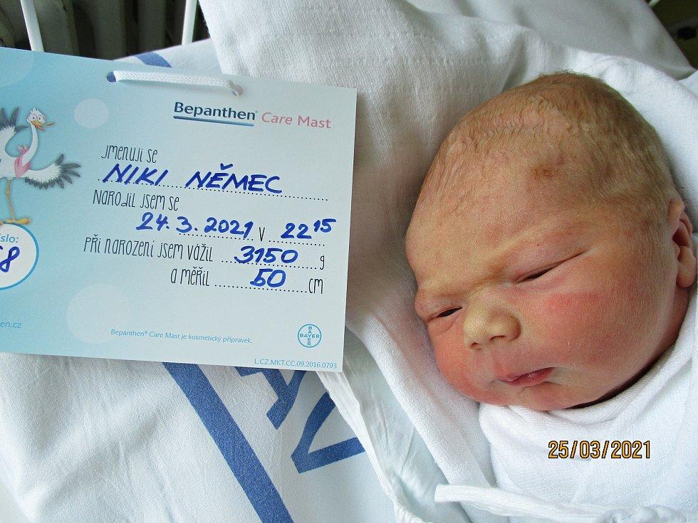 Niki Němec, 24. 3. 2021, Dubňany, Nemocnice Břeclav, 3150 g, 50 cm