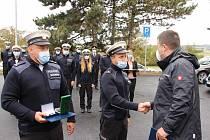 Oficiálního převzetí nové služebny dálničního oddělení policistů v brněnských Chrlicích se zúčastnil i ministr vnitra Jan Hamáček. Foto: policie ČR