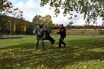 Na brněnském dopravním hřišti návštěvníci zhlédli například policejní výstupy s cvičeným psem.