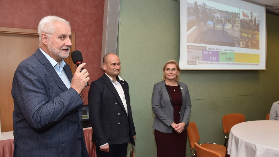 Volební štáb ANO v brněnském hotelu Voroněž.