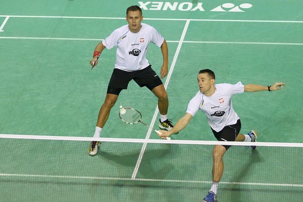 Mezinárodní mistrovství ČR v Badmintonu – zleva Adam Cwalina a Przemyslaw Wacha (POL)