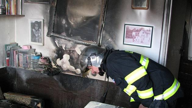 Požár bytu v Milénově ulici v Brně.