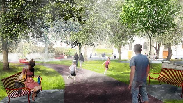 Obnova parku na Palackého náměstí v plném proudu. Firma už bagruje chodníky