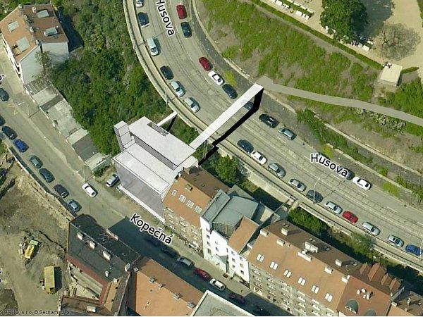 Plánovaná lávka zparkovacího domu vKopečné ulici do Denisových sadů.