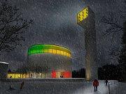 Vizualizace budovy nového kostela pro 450 věřících v Lesné.