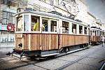 Historická tramvaj číslo 107 v Brně.