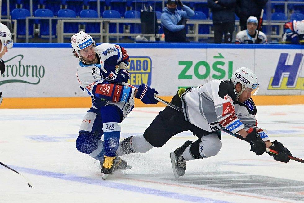 Hokejisté Komety Brno (v modrém Petr Zámorský) se poprvé v novém roce představili na domácím ledě proti Karlovým Varům. Foto: HC Kometa Brno/Vít Golda
