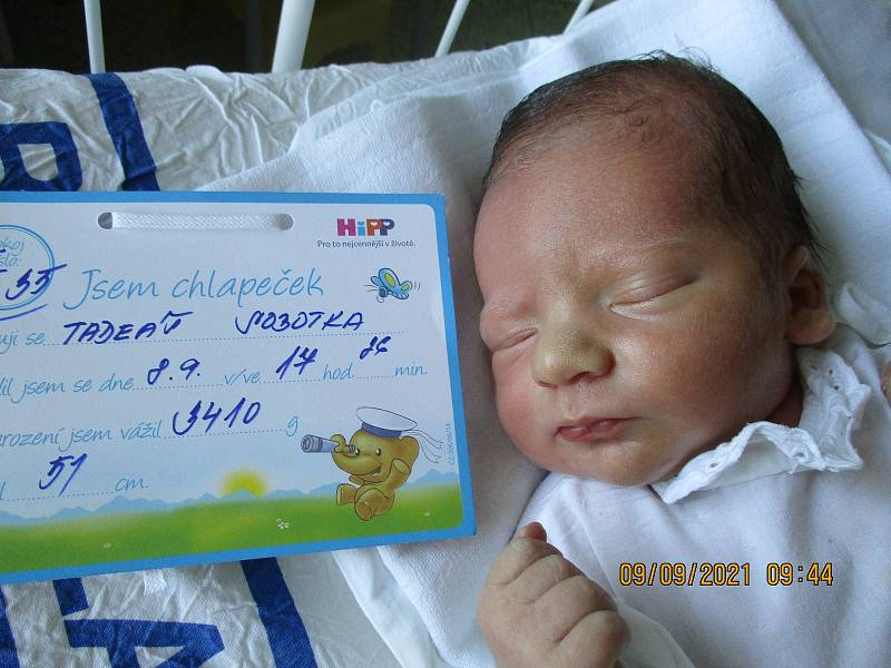 Tadeáš Sobotka, 8. 9. 2021, Mikulov, Nemocnice Břeclav, 3410 g, 51 cm