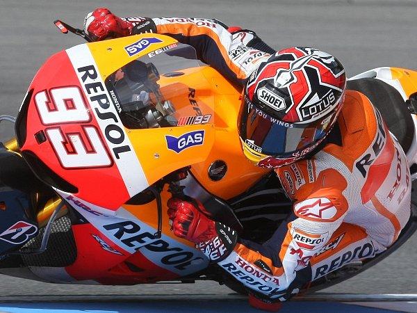 Marc Marquez na Velké ceně silničních motocyklů na Masarykově okruhu vBrně (pátek).