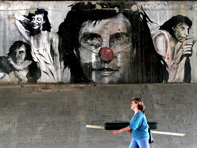 Zajímavý streetart zobrazující Bolka Polívku