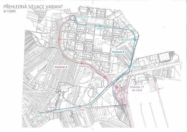 Varianty tras nové tramvajové linky. Pro projekt radní vybrali variantu B, která by měla být zanesená do nového územního plánu.