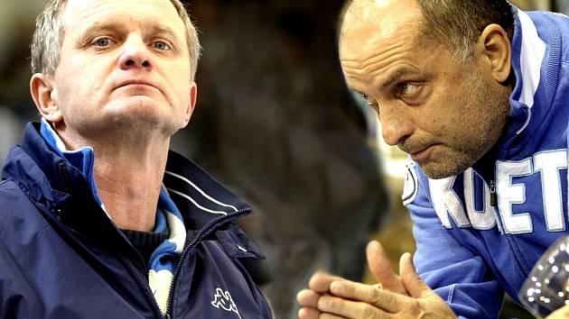 Vladimír Kýhos (vpravo) vystřídal na pozici trenéra Komety Zdeňka Veneru (vlevo).