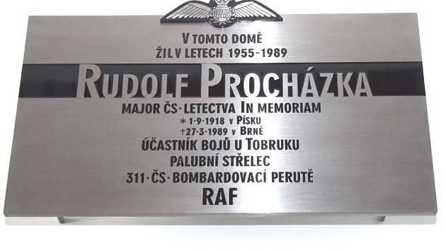 Pamětní deska Rudolfa Procházky.