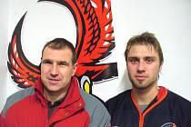 Vlastimil Odehnal mladší (vpravo) se svým otcem a sportovním manažerem Techniky Vlastimil Odehnalem.