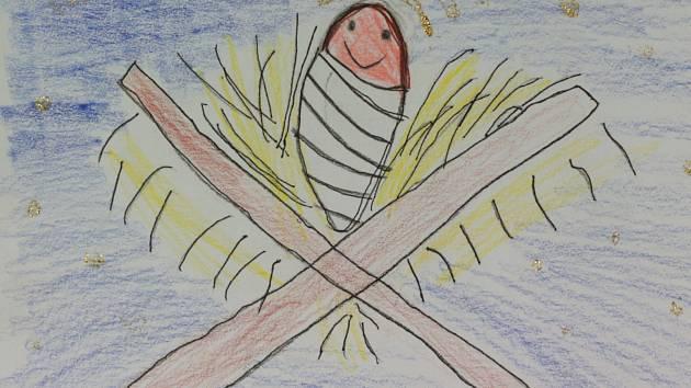 Jak vypadá Ježíšek podle žáků prvních a druhých tříd základní školy. Adélka Heroutová, 6 let, ZŠ Tuháčkova.