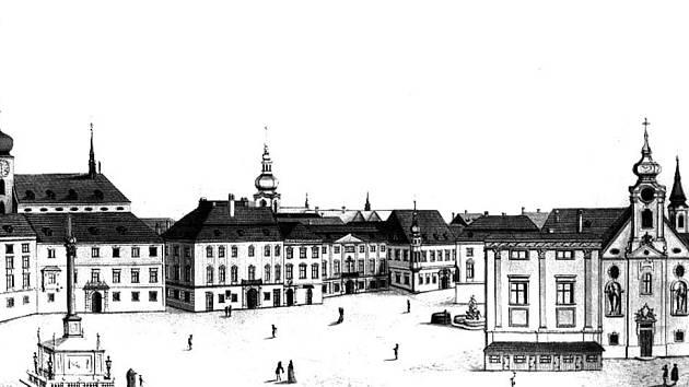 Belcrediho palác je na obrázku třetí zleva