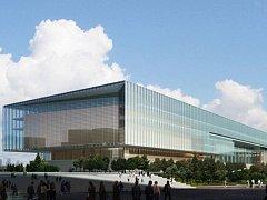 Expo centre. Sedmipatrová stavba se skleněnou střechou a s jedním podzemním podlažím bude sloužit jako informační a mediální centrum.
