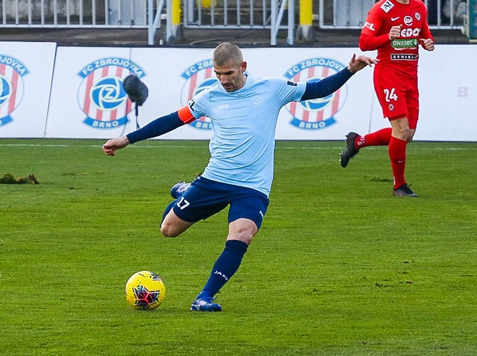 Ze zápasu 8. kola FORTUNA:LIGY 2020/2021 Zbrojovka Brno - 1. FK Příbram 1:1.