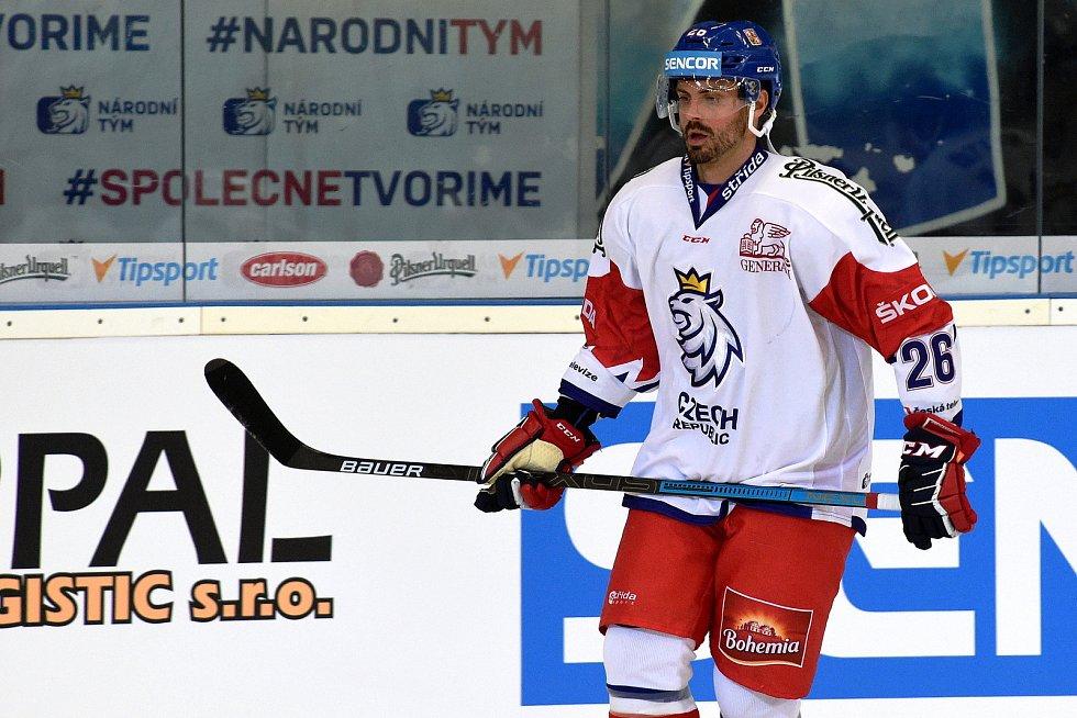 Úvodní zápas Carlson Hockey Games v brněnské DRFG aréně mezi Českou republikou v bílém (Michal Řepík) a Finskem