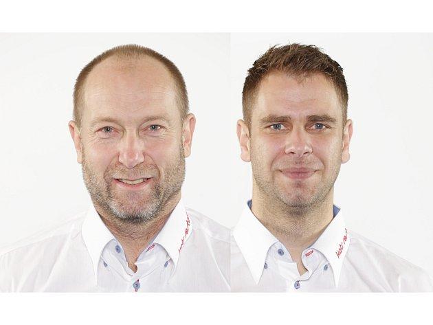 Lékař Petr Holub (vlevo) a fyzioterapeut Petr Tahovský působí u týmu českých házenkářů.