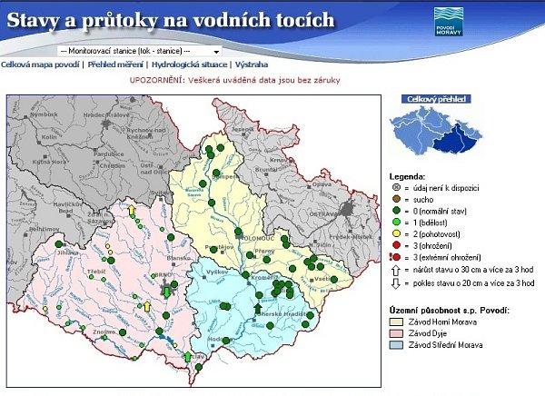 Stav moravských řek vúterý po poledni.