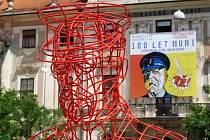 Instalace sochy T. G. Masaryka na Moravském náměstí v Brně