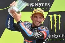 Vyhlášení vítězů závodu Moto3 - 1. Fabio Di Giannantonio, 2. Arón Canet a 3. Jakub Kornfeil.