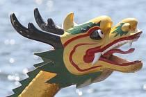 Závodu dračích lodí na brněnské přehradě o víkendu počasí přálo.