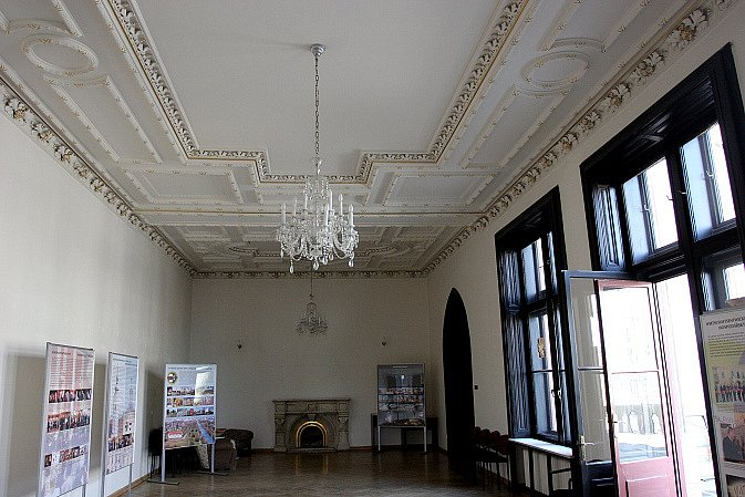 Reprezentační sál není veřejnosti běžně přístupný. K vidění bude v září.