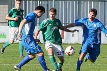 Brněnské derby Bystrce (v zeleném) se Spartou skončilo nerozhodně 1:1.