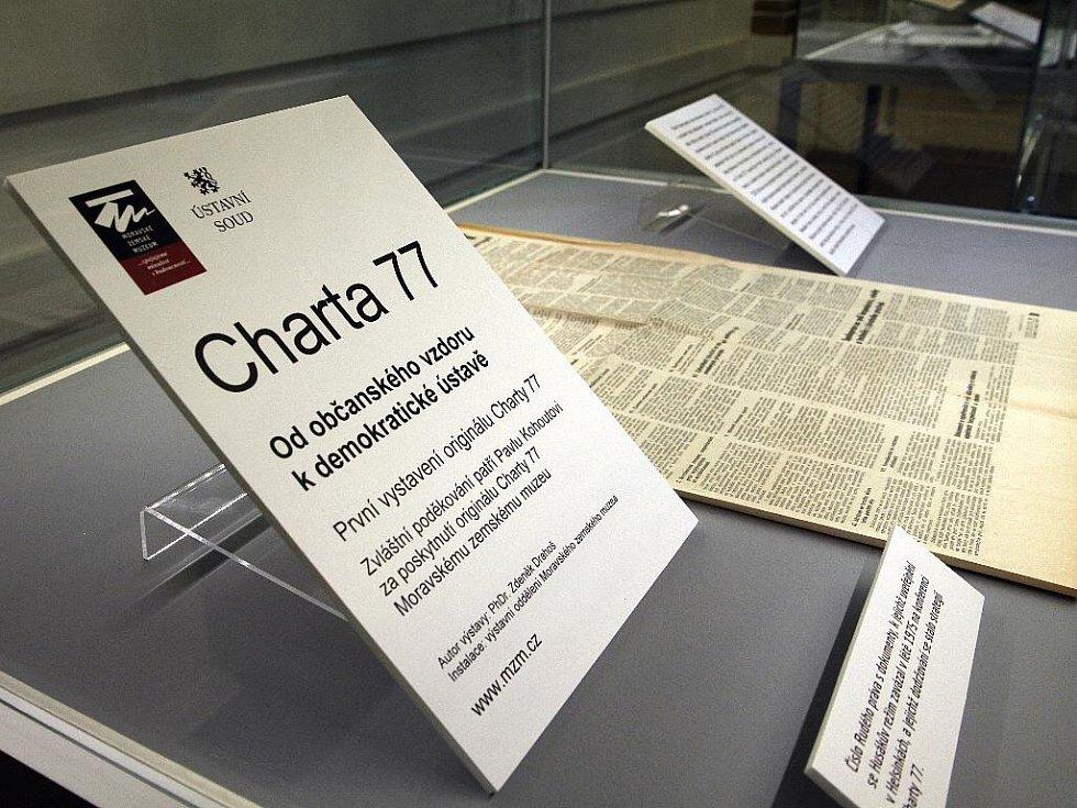 Originál Charty 77 vystavuje poprvé v historii Ústavní soud v Brně.