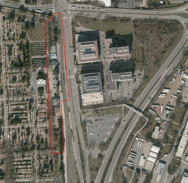 Řešené území hlavního vstupu Ústředního hřbitova a jeho okolí pro připravovanou architektonicko-urbanistickou soutěž.