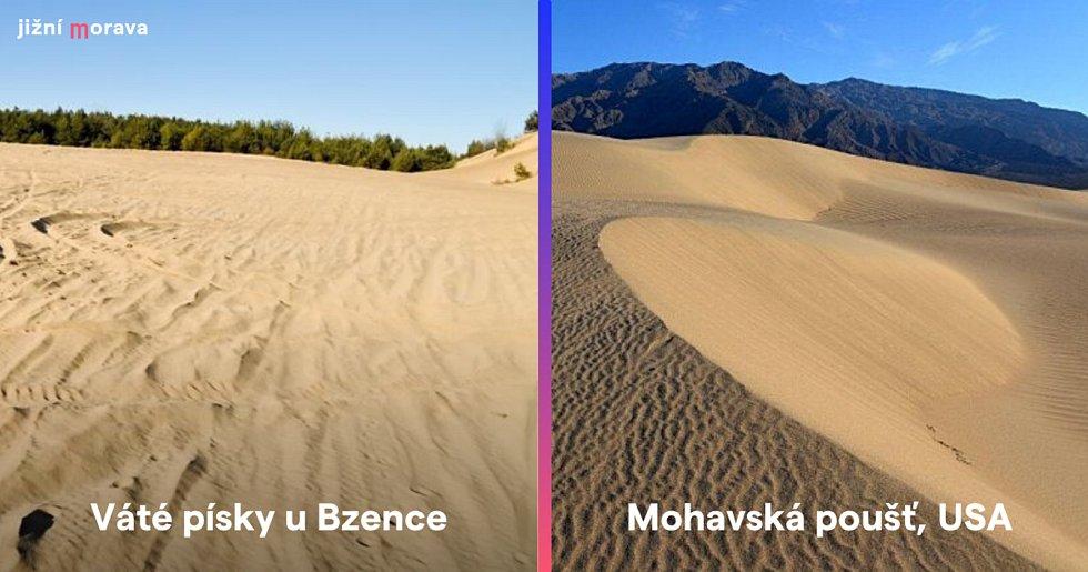 Váté písky u Bzence na Hodonínsku a Mohavská poušť v americké Kalifornii.