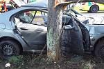 Osobní auto narazilo v Rajhradicích na Brněnsku do stromu, jednoho ze dvou zraněných lidí vyprostili hasiči.
