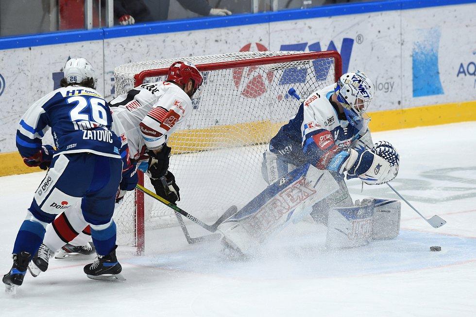 Brno 17.1.2021 - domácí HC Kometa Brno v modrém (Karel Vejmelka) proti Mountfield Hradec Králové