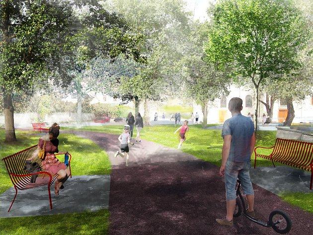 Návrh nové podoby Palackého náměstí v Řečkovicích.