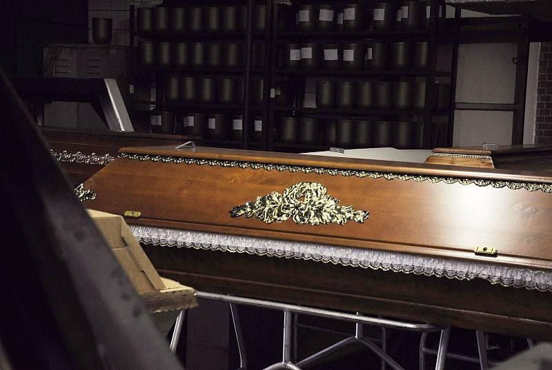Interiér krematoria v brněnském Ústředním hřbitově.