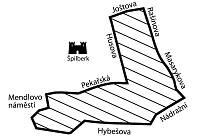 Kde se hraje: Šrafovaná oblast vyznačuje část Brna, kde se od zítřka do 17. prosince koná hra Hledáme Rychlé šípy.