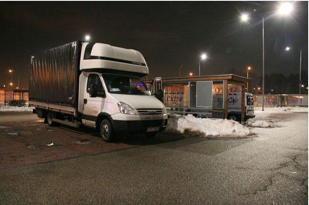 Vykradené nákladní auto vbrněnské Skandinávské ulici.